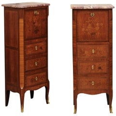Pair of Louis XV Marquetry Inlaid Bedside Commodes