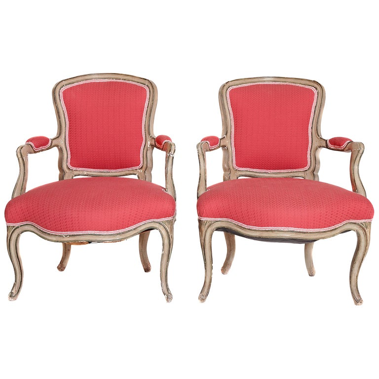 Pair of Louis XV Painted Fauteuils For Sale