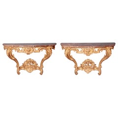 Pair of Louis XV Period Wall Mount Console Tables, circa 1740