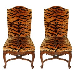 Pair of Louis XV Regence Silk Tiger Side Chairs