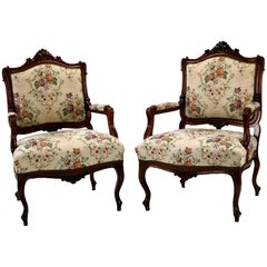 Pair of Louis XV Rococo Style Carved Walnut Armchairs, circa 1860