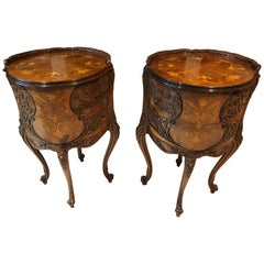 Pair of Louis XV Round Marquetry Inlaid Carved Mahogany Side Tables Nightstands
