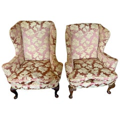 Pair of Louis XV Scalamandre Wingback Reading Chairs with Ball and Claw Feet
