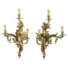 Pair of Louis XV Sconces in Gilt Bronze with Three Lights Mid-20th Century