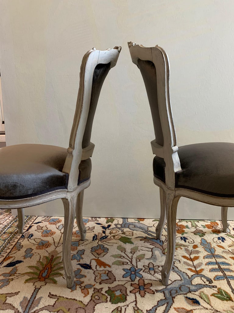 A pair of Louis XV style side chairs, nicely carved frames with a whitewashed finish, recently upholstered in a grey silk velvet, early 19th century.