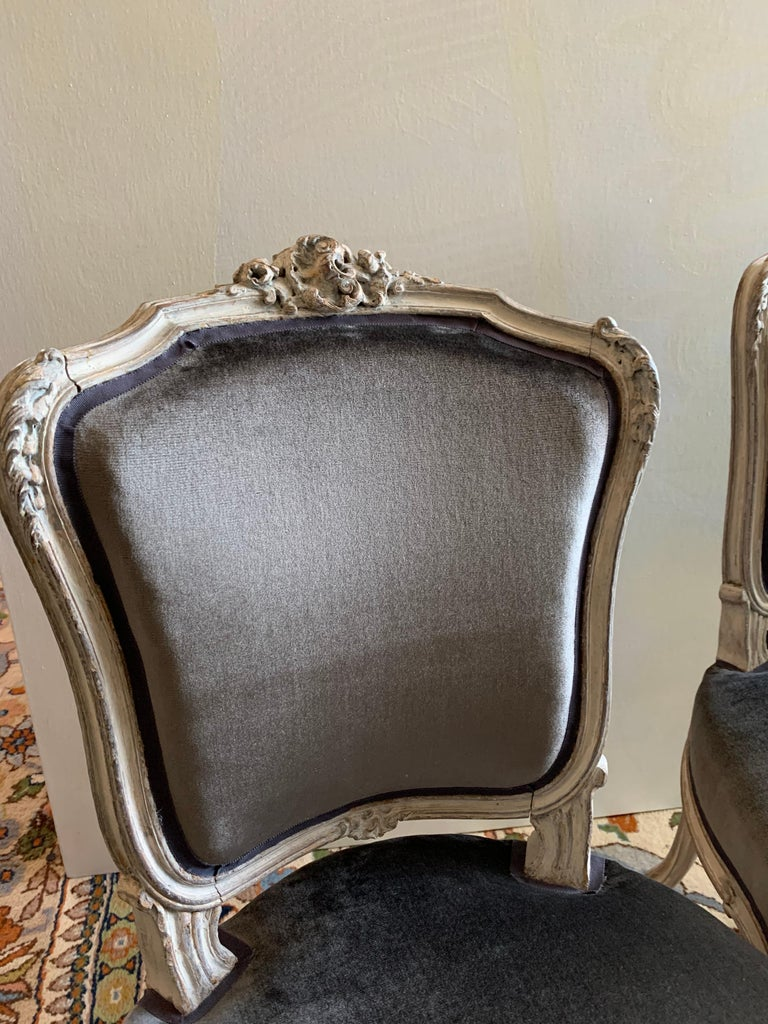Hand-Carved Pair of Louis XV Side Chairs, circa 1800 For Sale