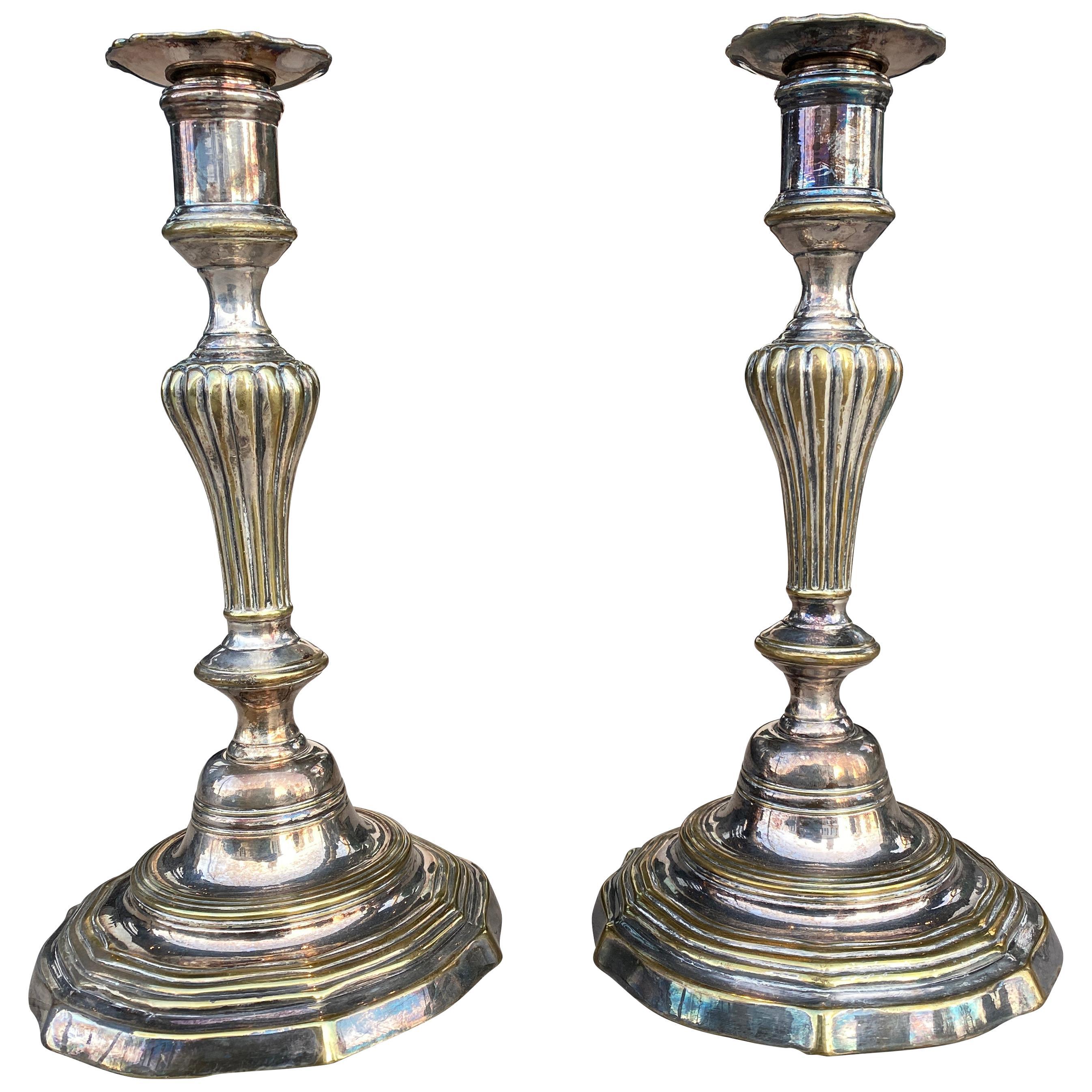 Pair of Louis XV Silvered Brass Candlesticks