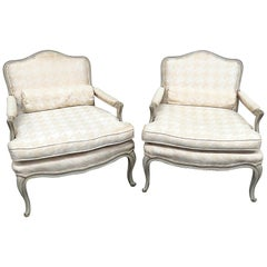 Distress Painted Pair of French Louis XV Style Parlor Armchairs