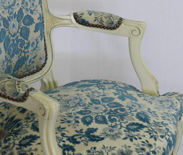Pair of Louis XV Style Armchairs French Upholstered Vintage, Early 20th Century In Good Condition For Sale In , South West France