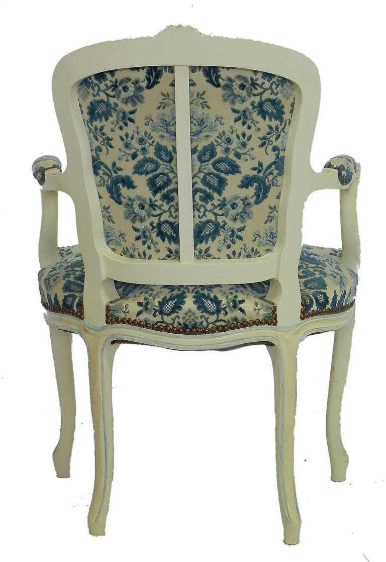 Pair of Louis XV Style Armchairs French Upholstered Vintage, Early 20th Century For Sale 1