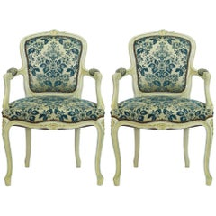 Pair of Louis XV Style Armchairs French Upholstered Vintage, Early 20th Century