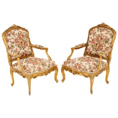 Pair of Louis XV Style Armchairs in Giltwood, circa 1880