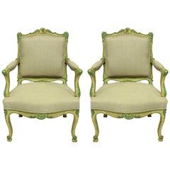 Pair of Louis XV Style Armchairs in Pale Yellow and Green Paints
