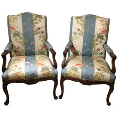 Pair of Louis XV Style Armchairs, Large Scale, Designer Upholstery Walnut