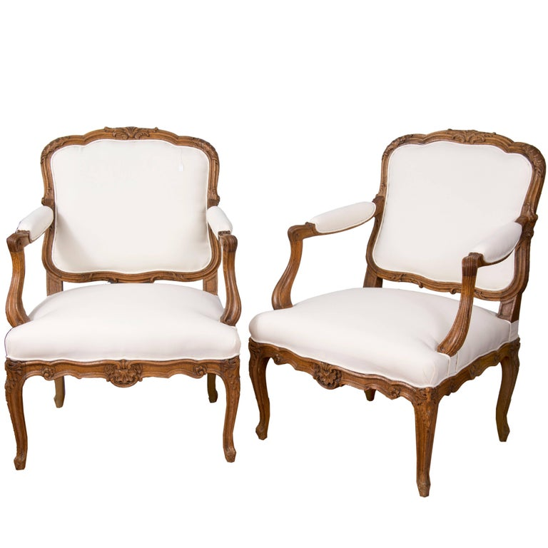 Pair of Louis XV Style Armchairs, Oak, Textile, France, 19th Century