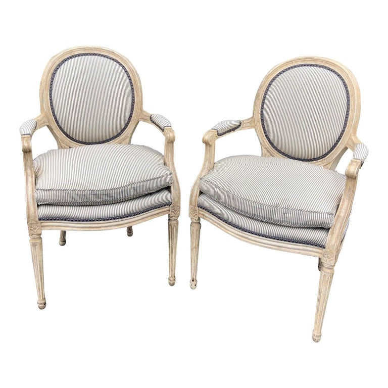 Pair of Louis XV Style Balloon Back Armchairs with Silk Down Cushions