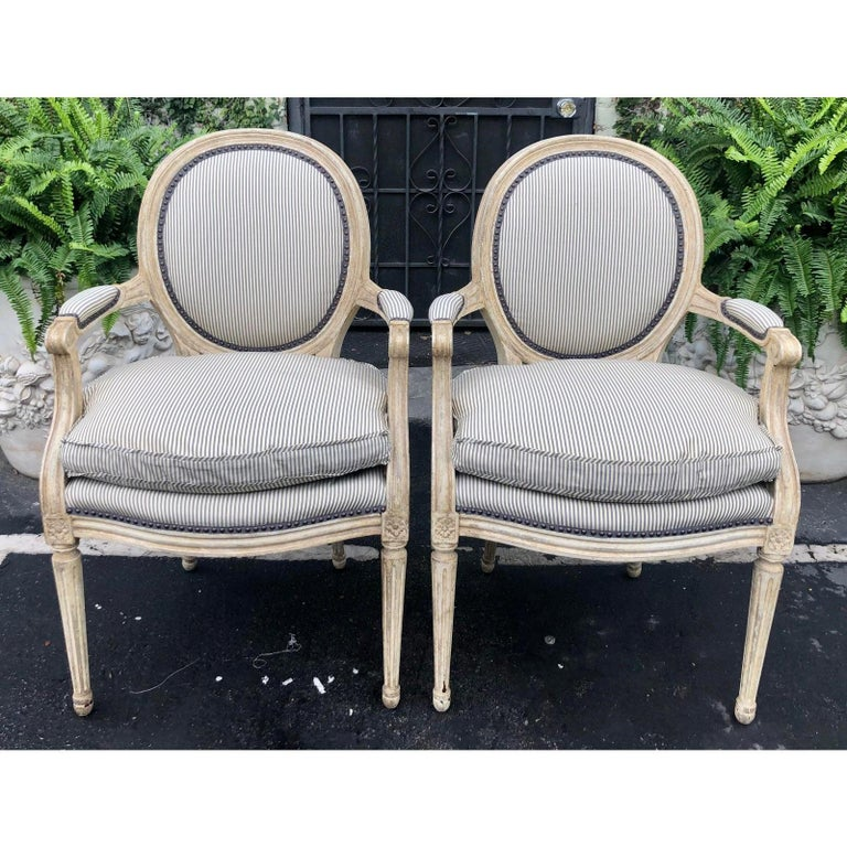 19th Century Pair of Louis XV Style Balloon Back Armchairs with Silk Down Cushions