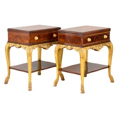 Pair of Louis XV Style Bedside Tables in Mahogany and Giltwood, 1950s