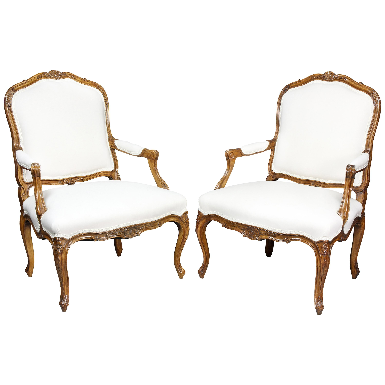 Pair of Louis XV Style Beechwood Armchairs