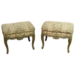 Pair of French Painted Louis XV Style Benches or Stools