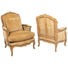 Pair of Louis XV Style Bergères in Beech, 1950s