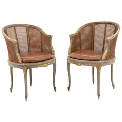 Pair of Louis XV Style Bergeres in Green Lacquered and Giltwood, circa 1900