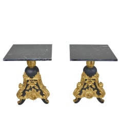 Pair of Louis XV Style Black Gold Giltwood Side Tables with Marble Top