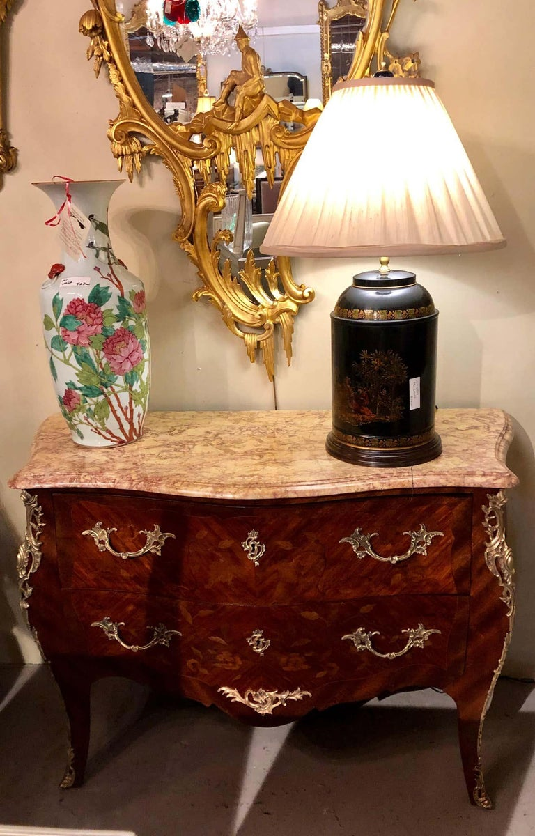 Mid-20th Century Pair of Louis XV Style Bombe Bronze Mounted Commodes, Nightstands or Chests For Sale
