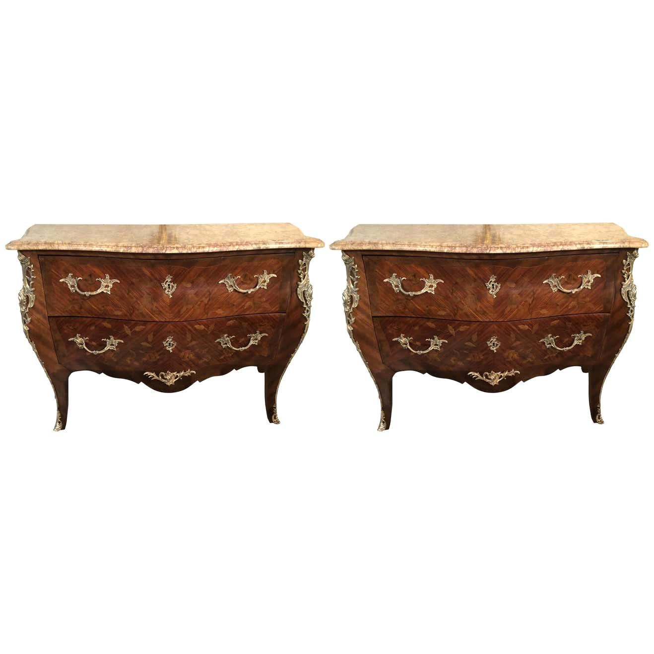 Pair of Louis XV Style Bombe Bronze Mounted Commodes, Nightstands or Chests