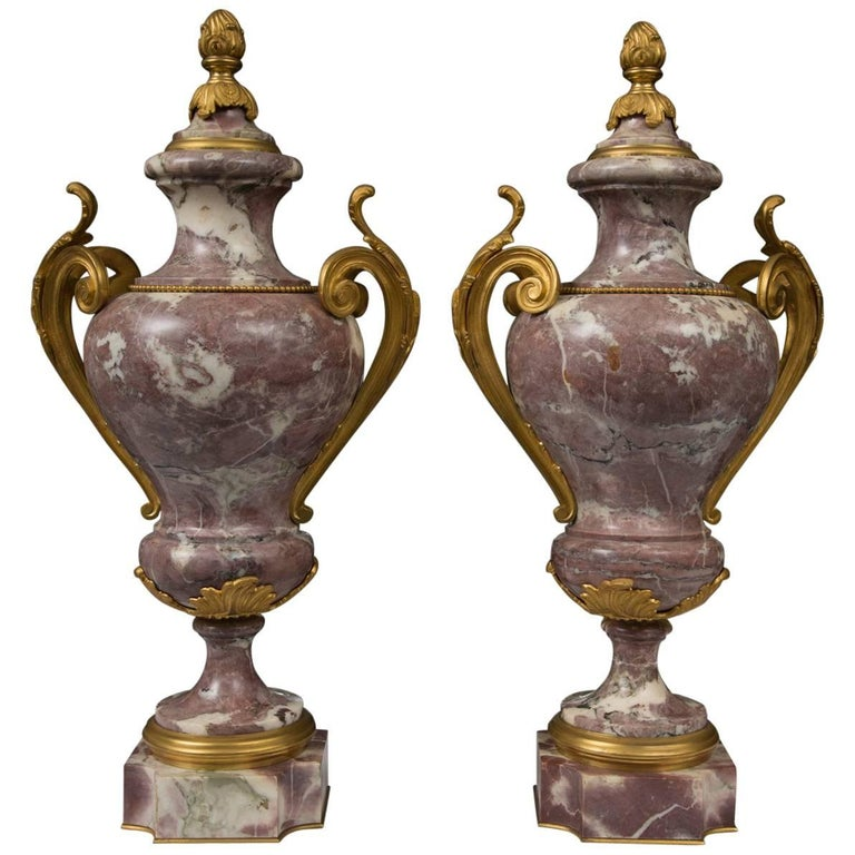 Pair of Louis XV Style Bronze Lavender Marble Urns For Sale