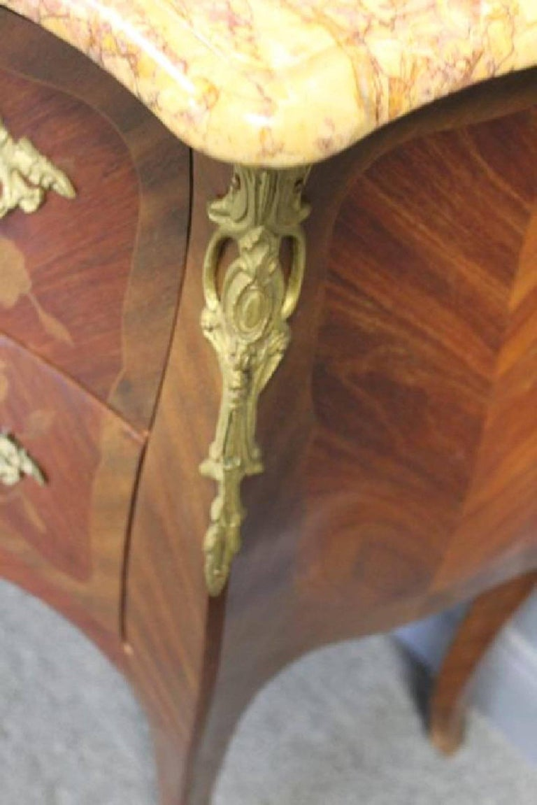 Pair of Louis XV Style Bronze-Mounted Marble-Top Inlaid Bedside ...