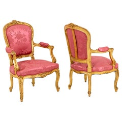 Pair of Louis XV Style Cabriolet Armchairs in Giltwood, circa 1880