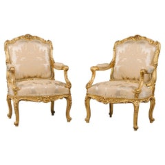 Pair of Louis XV Style Carved Giltwood Armchairs, by François Linke