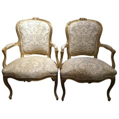 Pair of Louis XV Style Carved Giltwood Upholstered Chairs in Fortuny Fabric