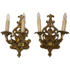 Pair of Louis XV Style Cast Bronze 2 Branch Wall Sconces