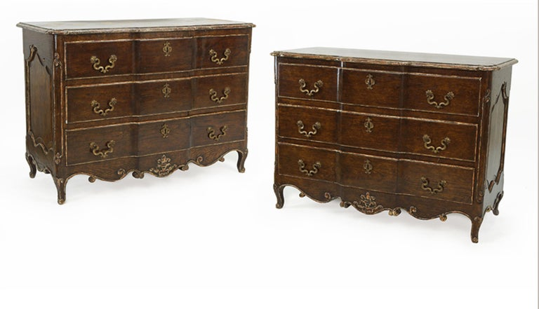 Oak Pair of Louis XV Style Commodes with Painted and Gilt Finish Bronze Hardware