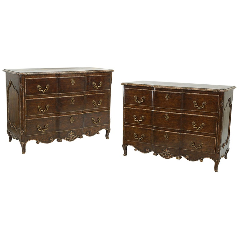 Pair of Louis XV Style Commodes with Painted and Gilt Finish Bronze Hardware