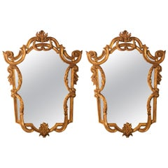Pair of Louis XV Style Console, Pier or Wall Mirrors, Giltwood Carved Frames