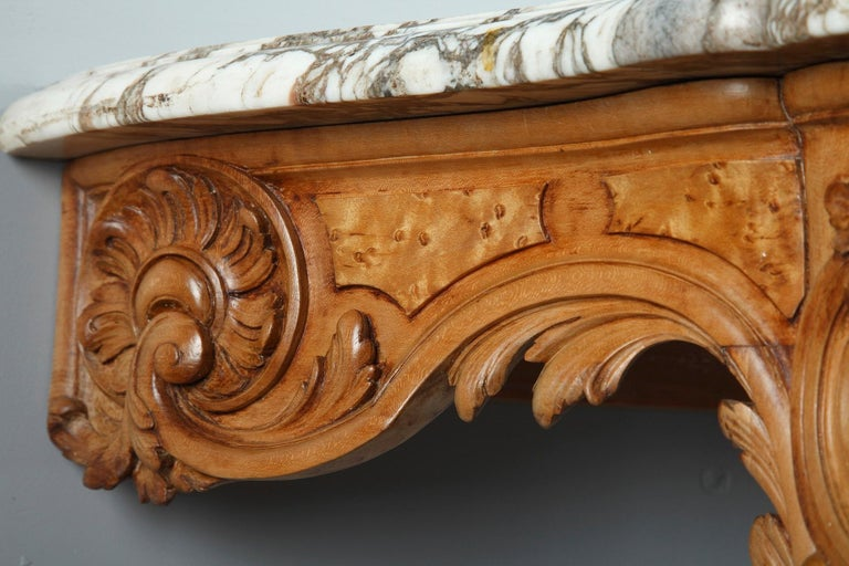 Pair of Louis XV-Style Console Tables with Marble Top For Sale 8