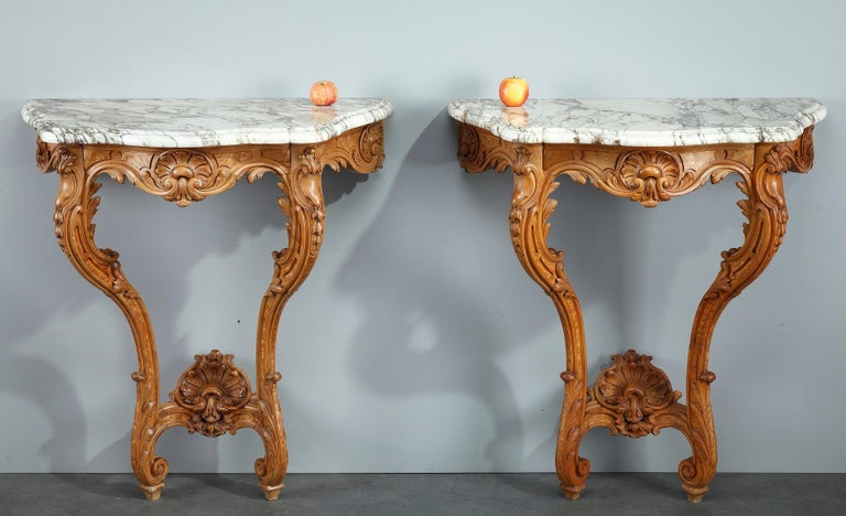 Pair of Louis XV-Style Console Tables with Marble Top For Sale 11