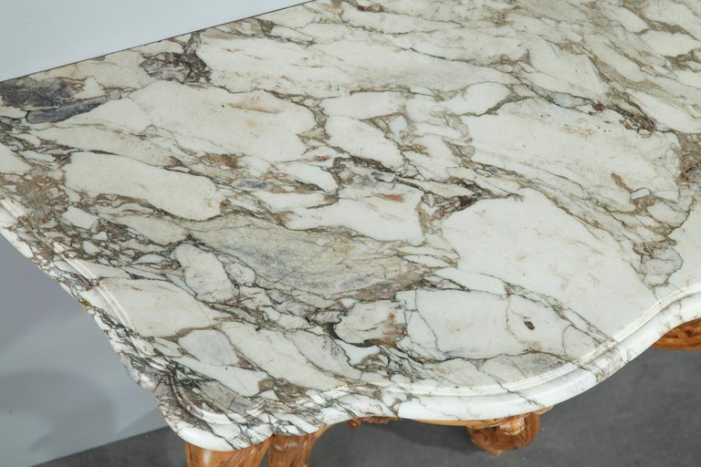 Pair of Louis XV-Style Console Tables with Marble Top For Sale 12