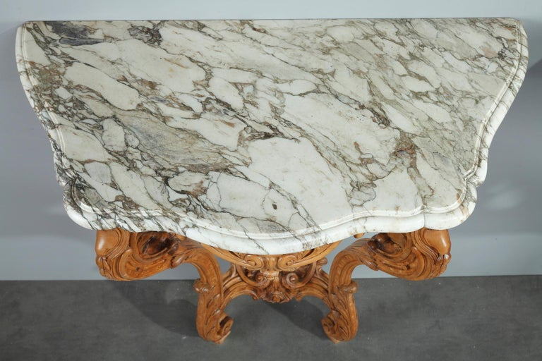 Pair of Louis XV-Style Console Tables with Marble Top For Sale 13