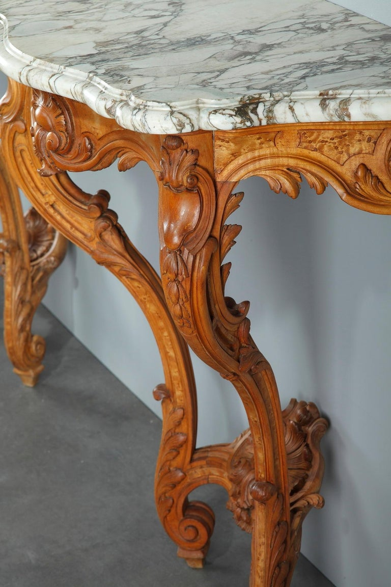 Pair of Louis XV-Style Console Tables with Marble Top For Sale 14