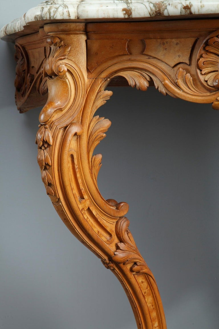 Hand-Carved Pair of Louis XV-Style Console Tables with Marble Top For Sale