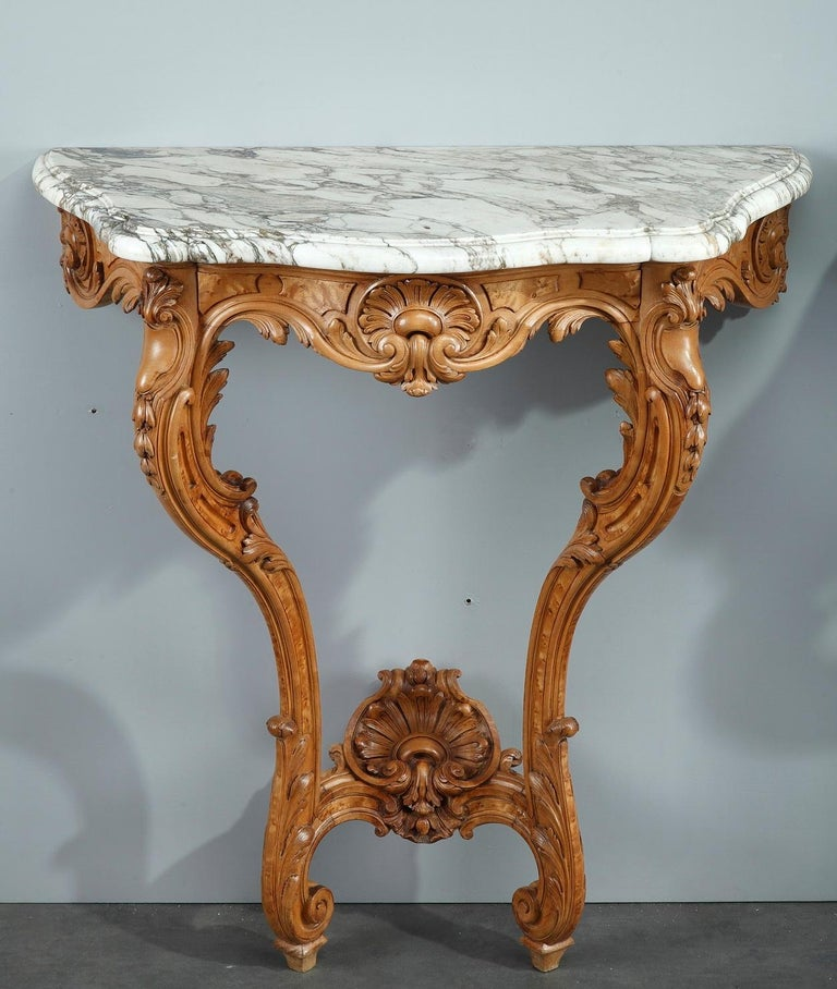 Pair of Louis XV-Style Console Tables with Marble Top For Sale 2