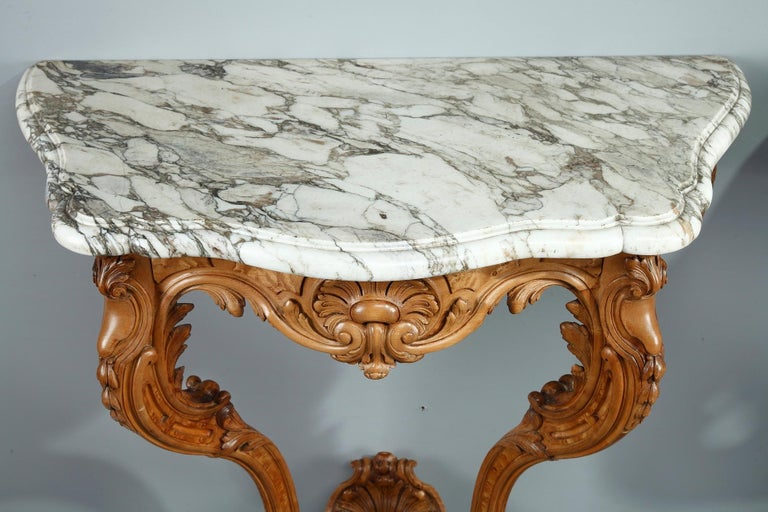 Pair of Louis XV-Style Console Tables with Marble Top For Sale 3