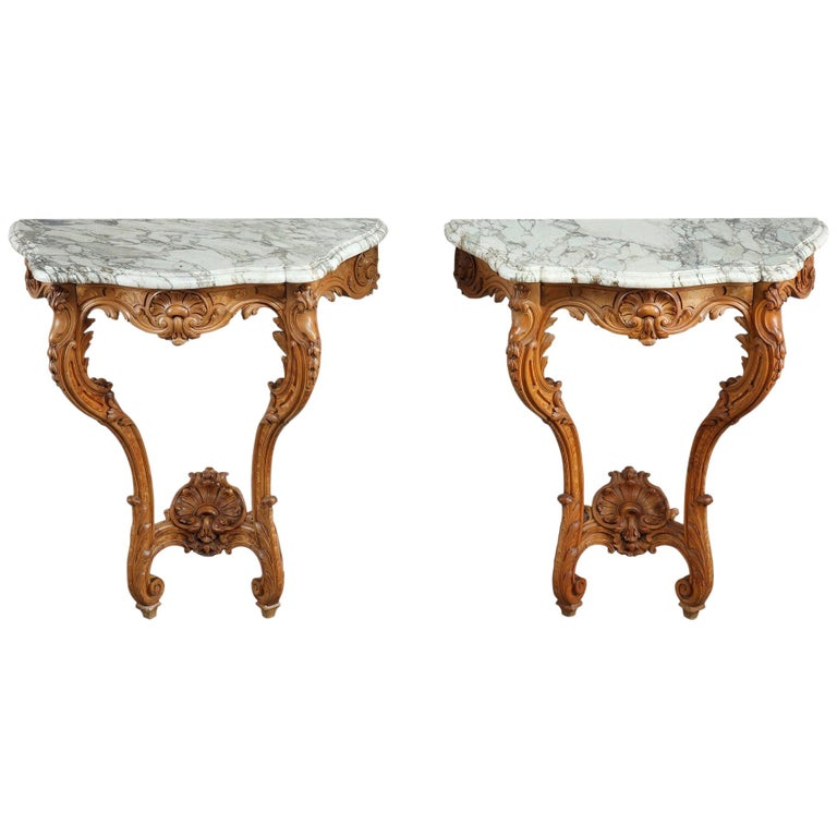 Pair of Louis XV-Style Console Tables with Marble Top For Sale