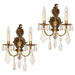 Pair of Louis XV Style Cut Glass Sconces