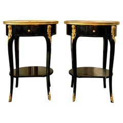 Pair of Louis XV Style Ebonized Side Tables with Marble Tops and Ormulu Mounts