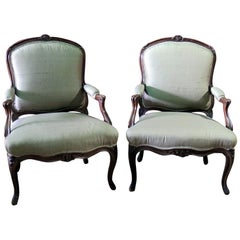 Pair of Carved Walnut Louis XV Style Fauteuils Armchairs